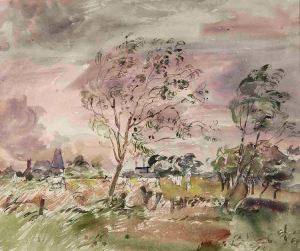 watercolour British countryside war artist